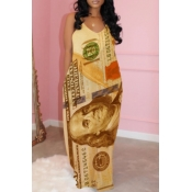 lovely Casual Print Yellow Maxi Dress