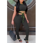 lovely Casual Lace-up Black Two-piece Pants Set