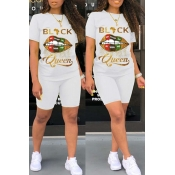 Lovely Casual Lip Print White Two-piece Shorts Set