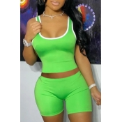 lovely Sportswear Patchwork Green Two-piece Shorts