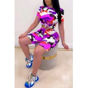lovely Casual O Neck Camo Print Purple Two-piece S