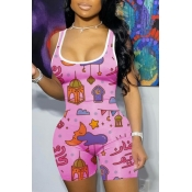 lovely Casual U Neck Print Pink One-piece Romper
