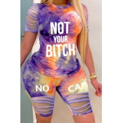 lovely Casual Tie-dye Hollow-out Purple Plus Size