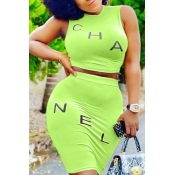 lovely Casual Letter Green Plus Size Two-piece Ski