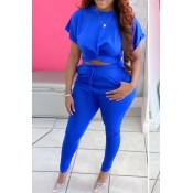 lovely Leisure Knot Design Blue Plus Size Two-piec