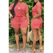Lovely Casual Striped Jacinth Plus Size Two-piece Shorts Set(Batch Print)
