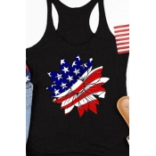 lovely Independence Day Casual Print Black Camisol