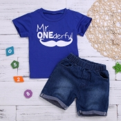 lovely Casual Letter Print Deep Blue Boy Two-piece