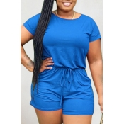lovely Leisure Lace-up Blue One-piece Romper