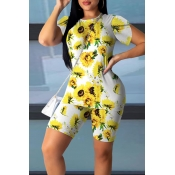 Lovely Casual Sunflower Print White Two-piece Shor