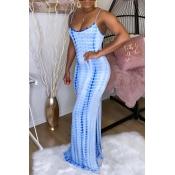 Lovely Trendy Tie-dye Deep Blue Maxi Dress