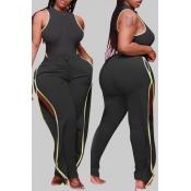 Lovely Stylish Side High SlitBlack Plus Size Two-