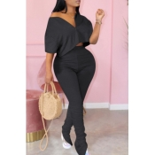 Lovely Casual Zipper Design Black Plus Size Two-pi