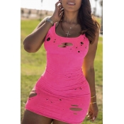 Lovely Casual Broken Holes Pink Mini Dress