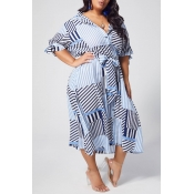 lovely Casual Striped Print Blue Mid Calf A Line P