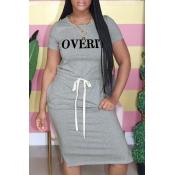Lovely Casual Letter Print Grey Knee Length Dress