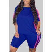 Lovely Sportswear Patchwork Blue Plus Size Two-piece Shorts Set