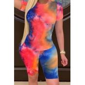 lovely Casual Tie-dye JacinthTwo-piece Shorts Set