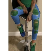 lovely Stylish Broken Holes Blackish Green Jeans