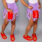 Lovely Stylish Tassel Design Purple Denim Shorts