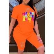 lovely Leisure O Neck Letter Print Orange Two-piece Shorts Set