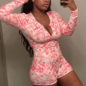 lovely Stylish Print Watermelon Red One-piece Romper