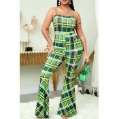 lovely Trendy Grid Green One-piece Jumpsuit