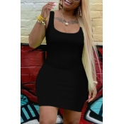 lovely Casual U Neck Black Mini Dress