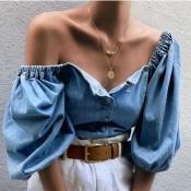 lovely Trendy Buttons Design Blue Denim Blouse