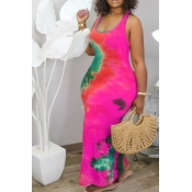 Lovely Leisure U Neck Tie-dye Rose Red Ankle Length Plus Size Dress