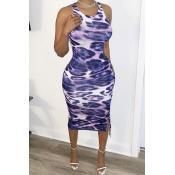 lovely Sexy Sleeveless Print Blue Knee Length Dres