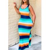 Lovely Bohemian U Neck Striped MulticolorMaxi Dress