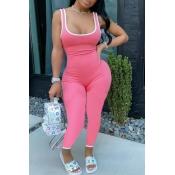 lovely Sportswear Patchwork Light Pink One-piece J