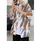 lovely Bohemian Turndown Collar Print Coffee Shirt