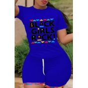 Lovely Leisure Letter Print Blue Two-piece Shorts Set