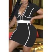 lovely Sportswear Turndown Collar Patchwork Black