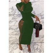 lovely Sexy Hollow-out Army GreenAnkle Length Dress