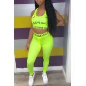 lovely Sportswear U Neck Letter Print Green Two-pi