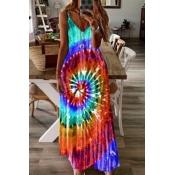 lovely Bohemian Tie-dye Multicolor Ankle Length Pl