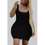 Lovely Leisure U Neck Basic Black Mini Plus Size Dress