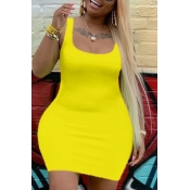Lovely Leisure U Neck Basic Yellow Mini Plus Size Dress