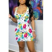 lovely Sportswear U Neck Lip Print White Mini Dres