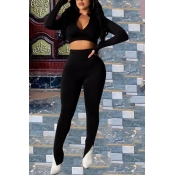 lovely Casual Zipper Design Black Two-piece Pants