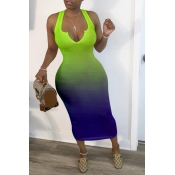 Lovely Sexy Gradual Change Green Mid Calf Dress