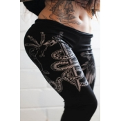 lovely Casual Print Black Pants