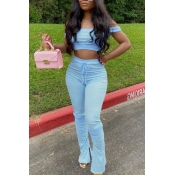 lovely Casual Dew Shoulder Baby Blue Two-piece Pants Set