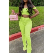lovely Casual Dew Shoulder Green Two-piece Pants Set