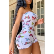 Lovely Stylish Butterfly Print White One-piece Romper