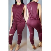 Lovely Casual Hollow-out Purplish Red One-piece Jumpsuit