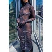 lovely Sexy Print See-through Black Mid Calf Dress